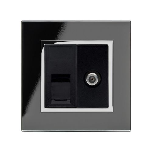 RetroTouch Cat5E/Sat Socket Black CT 01811